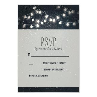 Elegant String Lights Night Stars Wedding RSVP Card