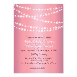 Elegant String Lights on Rose Gold Wedding Invite