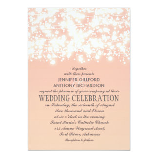 elegant string lights peach wedding invitations