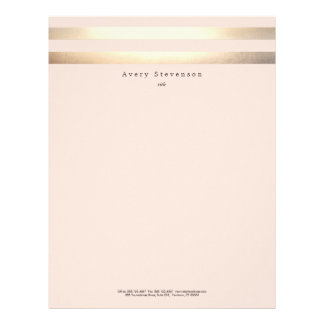 Elegant Striped FAUX Gold and Pink Letterhead Design