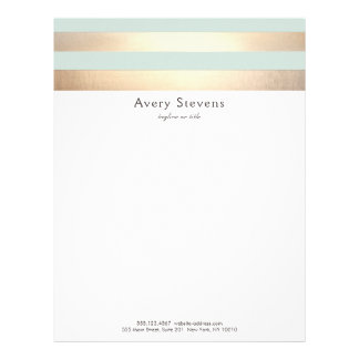 Elegant Striped FAUX Gold Foil Light Blue Letterhead