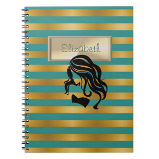 Elegant,Striped, Girl Silhouette,Personalized Notebook