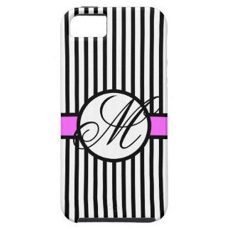 Elegant Stripes Chic Monogram M Pink Black iPhone 5 Cases