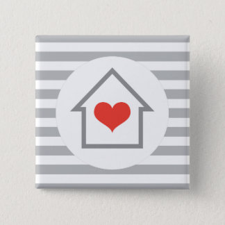 Elegant stripes house with heart home 2 inch square button