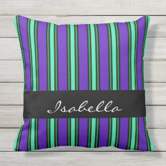Elegant Stripes Named Outdoor Pillow