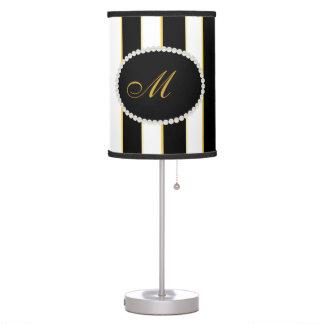 Elegant Stripes, Pearls Monogram Lamp