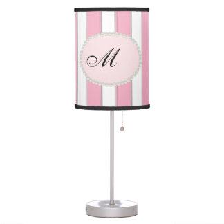 Elegant Stripes, Pearls & Monogram Lamp