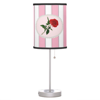 Elegant Stripes, Pearls & Red Rose Lamp