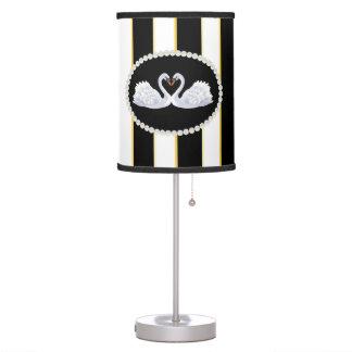 Elegant Stripes, Pearls & Swans Lamp