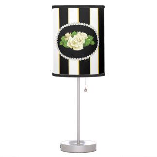 Elegant Stripes, Pearls & White Roses Lamp