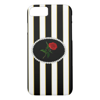 Elegant Stripes & Red Rose Phone & Ipad Case