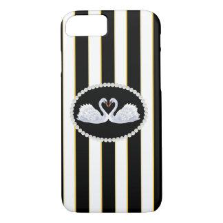 Elegant Stripes & Swans Phone & Ipad Case