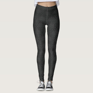 Elegant  Stylish Black Damask Pattern Leggings
