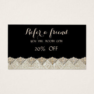 Elegant Stylish ,Black,Damask  Referral Card