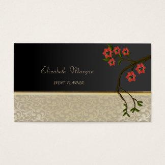 Elegant  Stylish Chic,Damask,Black,Cherry Tree Business Card
