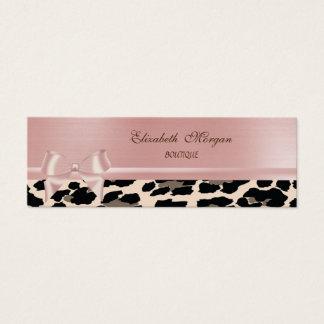 Elegant Stylish Chic Leopard ,Pink Bow Mini Business Card