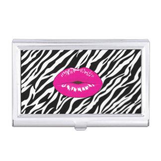 Elegant Stylish Chic-Zebra Print- Pink  Lips Business Card Holder