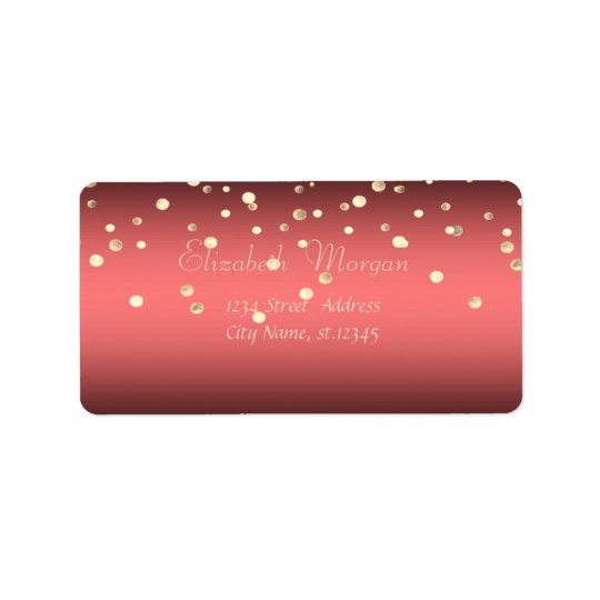 Elegant  Stylish ,Coral Red,Fux Gold Foil Confetti Label