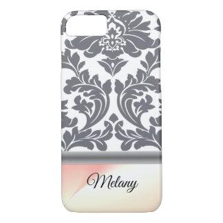 Elegant stylish damask monogram iPhone 8/7 case