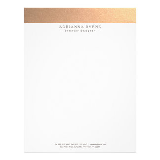 Elegant Stylish Faux Copper Gold Letterhead