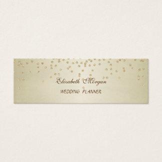 Elegant  Stylish Faux Gold Foil Confetti- Diamonds Mini Business Card