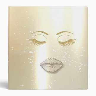 Elegant Stylish,Faux Gold Glittery Lashes,Lips Binder