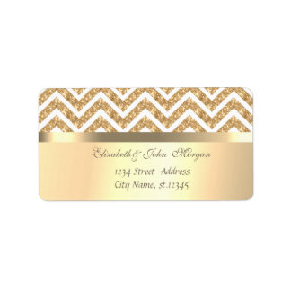 Elegant  Stylish Faux Gold,Glittery Zigzag Chevron Label