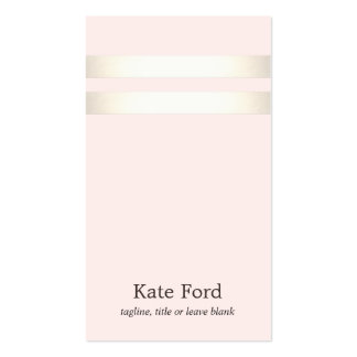 Elegant Stylish Faux Gold Striped Light Pink Business Card