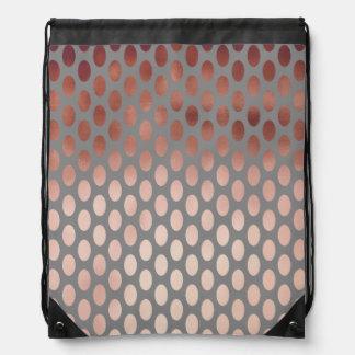 elegant stylish faux rose gold polka dots pattern drawstring bag