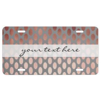 elegant stylish faux rose gold polka dots pattern license plate
