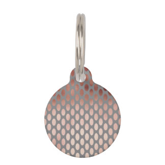 elegant stylish faux rose gold polka dots pattern pet name tag