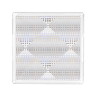Elegant stylish faux silver polka dots pattern acrylic tray