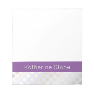 Elegant stylish faux silver polka dots pattern notepad