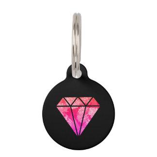 elegant stylish floral pink orange diamond black pet ID tag