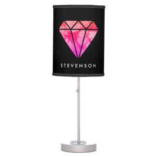 elegant stylish floral pink orange diamond black table lamp