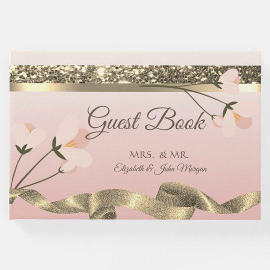 Elegant Stylish  Floral Wedding Guest Book