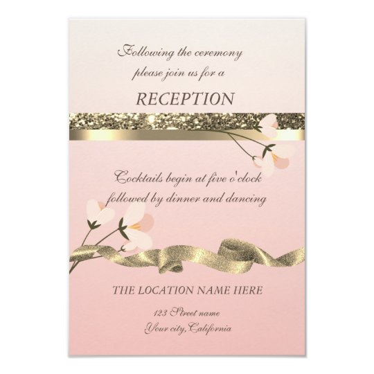 Elegant Stylish  Floral Wedding Reception Card