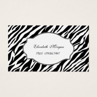 Elegant Stylish  Girly  Professional Zebra Print Business Card
