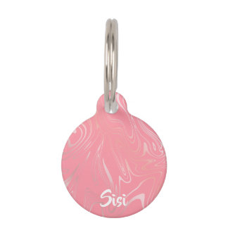Elegant stylish girly rose gold marble look pink pet ID tag