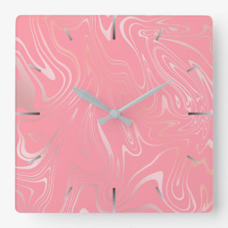 Elegant stylish girly rose gold marble look pink square wall clock
