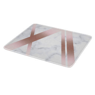 Elegant stylish girly rose gold white marble boards