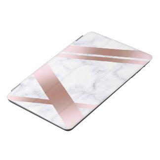 Elegant stylish girly rose gold white marble iPad mini cover