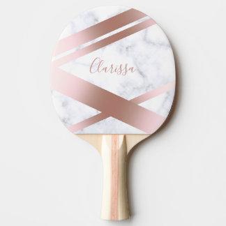 Elegant stylish girly rose gold white marble ping pong paddle