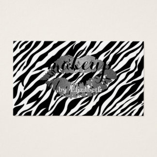 Elegant Stylish  Girly   Zebra Print, Lips Business Card