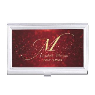 Elegant Stylish Glittery Bokeh Gold Monogram Business Card Holder