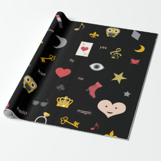 elegant stylish kisses, lips, hearts, owls, notes wrapping paper