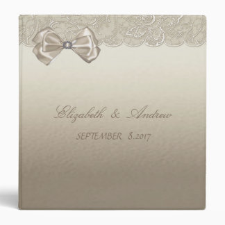 Elegant Stylish, Lace ,Bow  Wedding 3 Ring Binder