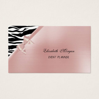 Elegant Stylish Luxury Zebra Print ,Pink,Bow Business Card