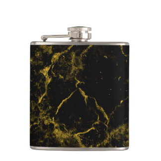 elegant stylish modern chic black and gold marble hip flask