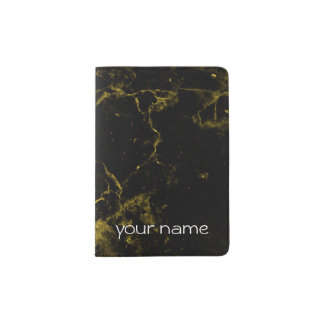 elegant stylish modern chic black and gold marble passport holder